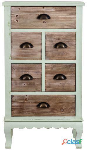 Wellindal Mueble alto 6 cajajones de estilo mediterraneo