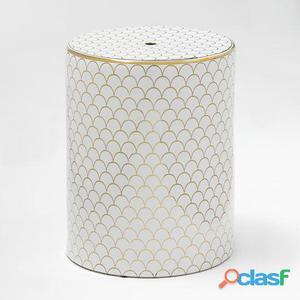 Wellindal Taburete Ceramica Blanco y Dorado 10.4 kg