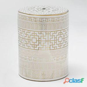 Wellindal Taburete Ceramica Blanco y Dorado 12.4 kg
