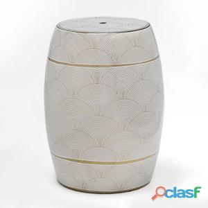 Wellindal Taburete Ceramica Blanco y Dorado 9.6 Kg