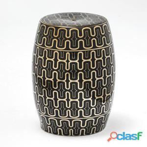 Wellindal Taburete Ceramica Negro y Dorado 8.5 kg
