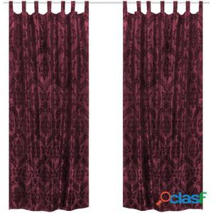 2 cortinas burdeos barrocas de tafetán con lengüetas, 140