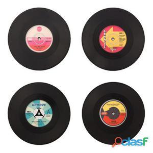 Bigbuy Posavasos retro discos de vinilo Pack de 4 piezas 68