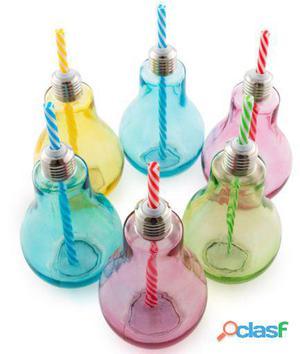 Bigbuy Vasos de bombilla coloridos con pajitas Wagon Trend