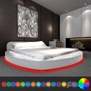 Cama blanca redonda cuero LED 2 mesitas +colchón 180x200cm