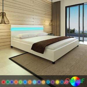 Cama con LED cuero artificial blanco 180 x 200 cm
