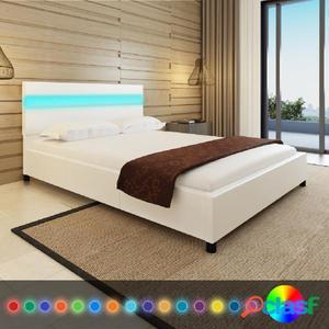 Cama con LED de cuero artificial blanca 140x200 cm
