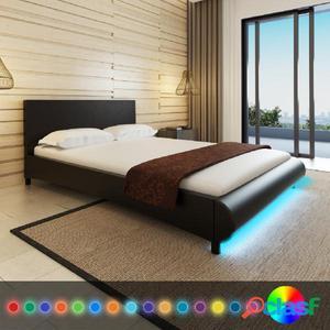 Cama con LED de cuero artificial negra 140x200 cm