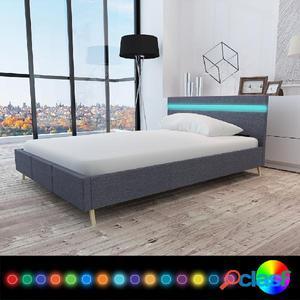 Cama con LED de tela gris oscuro 140 x 200 cm