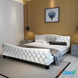 Cama de cuero artificial blanca brillante 180 x 200 cm