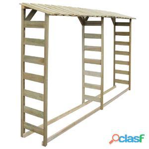 Caseta para leña doble 300x44x176 cm madera de pino