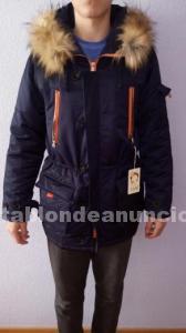 Chaqueta abrigo con capucha con pelo