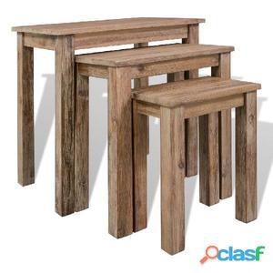 Conjunto de mesas apilables madera maciza reciclada 3
