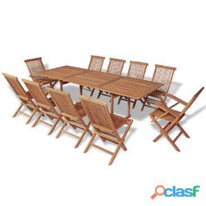 Conjunto de muebles comedor exterior teca 11 piezas