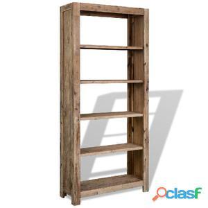 Estantería de 5 niveles madera acacia maciza 80x30x180 cm