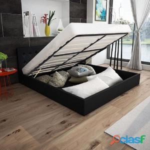 Estructura de cama elevación cuero artificial negra 160x200