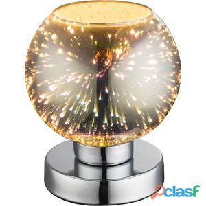 GLOBO Lámpara de mesa efecto 3D KOBY vidrio cromado 15x18