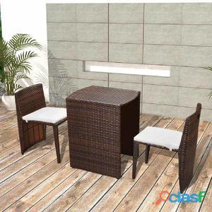Set de muebles balcón ratán marrón