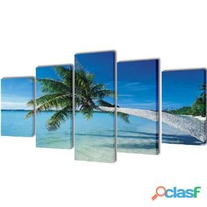 Set decorativo de lienzos para pared playa con palmera 200 x