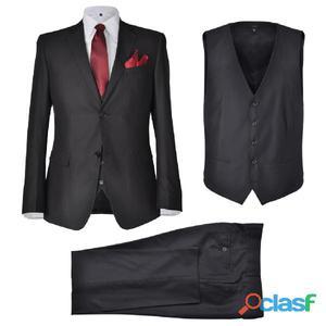 Traje de negocios negro para caballeros con 3 piezas, talla