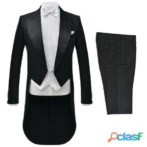 Traje de vestir corbatín blanco hombre 2 piezas negro talla
