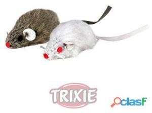 Trixie 2 Ratónes Peluche Con Cascabel, 5 Cm Bl./gris