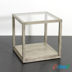 Wellindal Mesa Auxiliar Cristal y Madera Gris Velado 11.3 kg