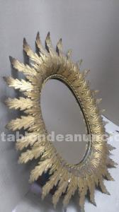 Espejo vintage laton dorado
