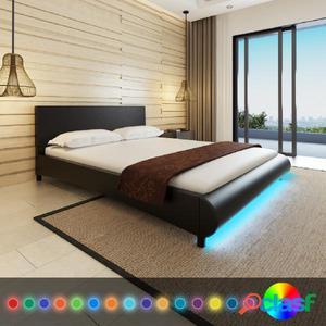 Cama con LED de cuero artificial negra 160 x 200 cm