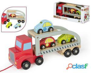 Colorbaby Camión madera con remolque y coches 28cm