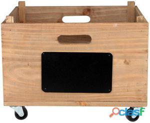 Decoración Vintage Caja Crate Madera Envejecida Con Ruedas