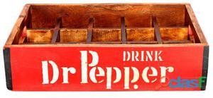 Decoración Vintage Caja Pepsi Roja Dr Pepper Madera 1.5 kg