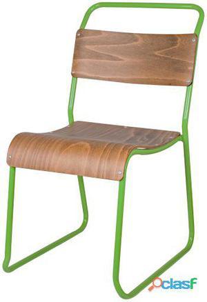 Decoración Vintage Silla Helsinky Verde Estructura Metal 8