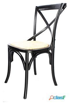 Decoración Vintage Silla Sasha Negro Con Asiento De Rattán