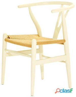 Decoración Vintage Silla Wishbone Blanco Madera Roble 7 kg