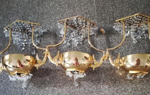 Lampara de bronce de cristal de stras.