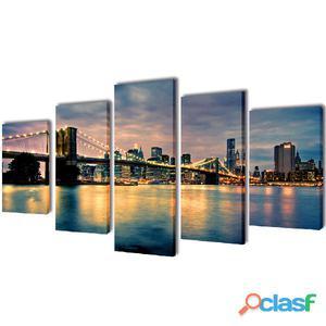 Set decorativo de lienzos para pared río Brooklyn 200 x 100