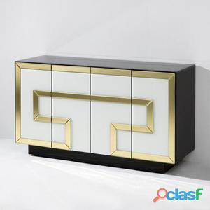 Wellindal Aparador Cristal Multicolor con 4 Puertas 97 kg