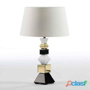 Wellindal Lámpara Sobremesa 15x15x51 Cristal Negro y Oro y