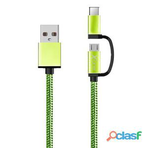X-One Cdc1000Gr Cable Usb a Mirco + Tipo-C Verde