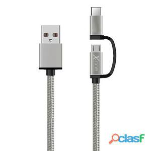 X-One Cdc1000S Cable Usb a Micro + Tipo-C Plata