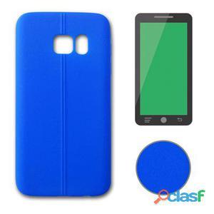 X-One Funda Tpu Leather Samsung S7 Edge Azul