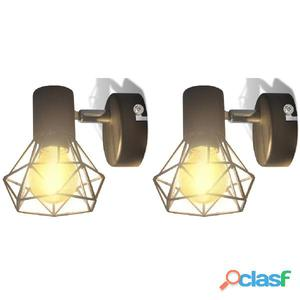 Aplique lámpara de pared LED, 2 uds., negro, estilo