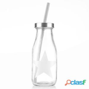 Bigbuy Botella de Vidrio con Pajita Star