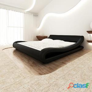Cama colchón viscoelástico cuero artificial 140x200 curva