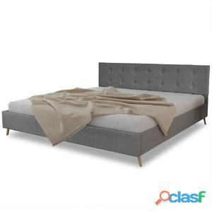 Cama de madera tapicería tela + colchón 200x180cm Gris