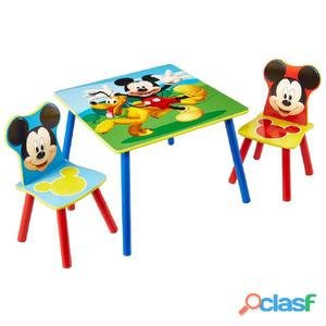 Disney Juego de mesa y sillas 3 pzas Mickey Mouse madera