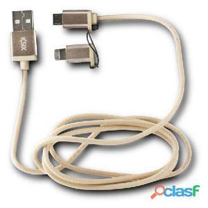 Ksix Cable datos cargador 2en1 micro usb dorado
