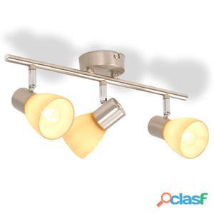 Lámpara de techo con 3 focos E14 plateada