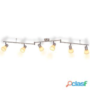 Lámpara de techo con 6 focos E14 plateada